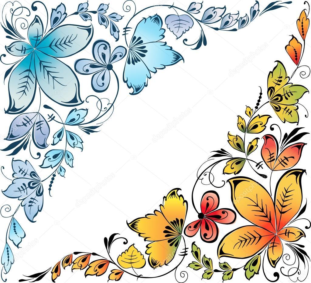Esquinas florales decorativas vector de stock - Fotos decorativas ...