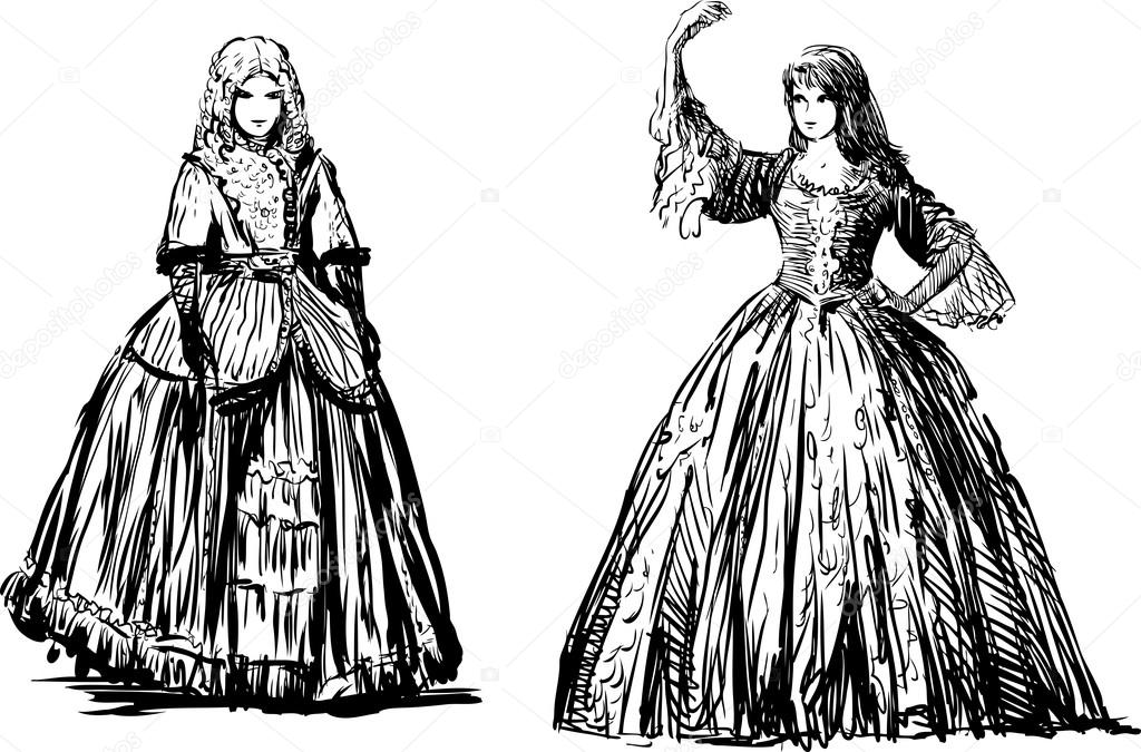 Young ladies sketches — Stock Vector