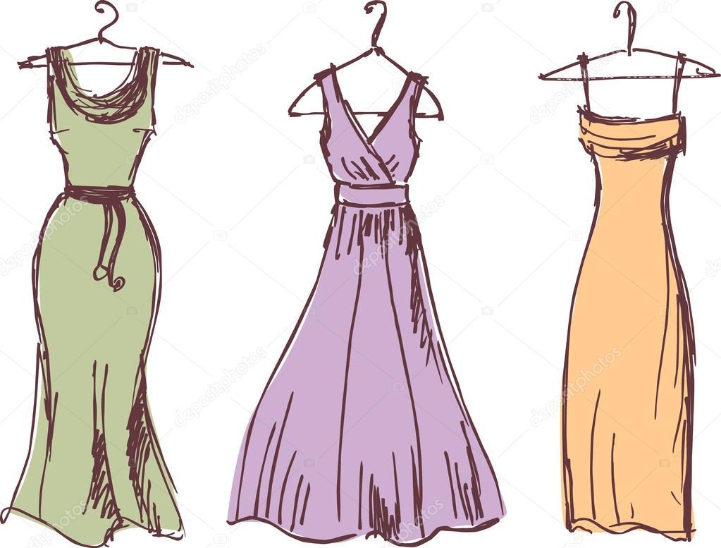 d09c74b7444 Векторные рисунки три различные платья. Фото  платья эскизы — Вектор от  mubaister gmail.com