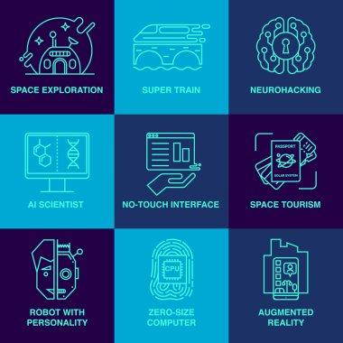 Incredible future technologies line icon set.