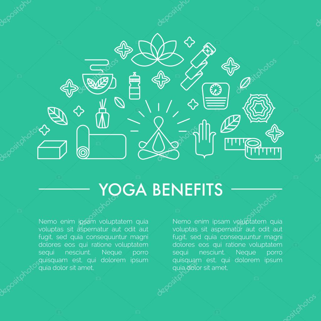 Yoga benefits poster or iluustration for an article.