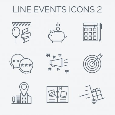 Thin line and flat icons of events.