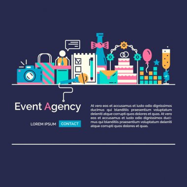 Flat concept of events and special occasions organization.