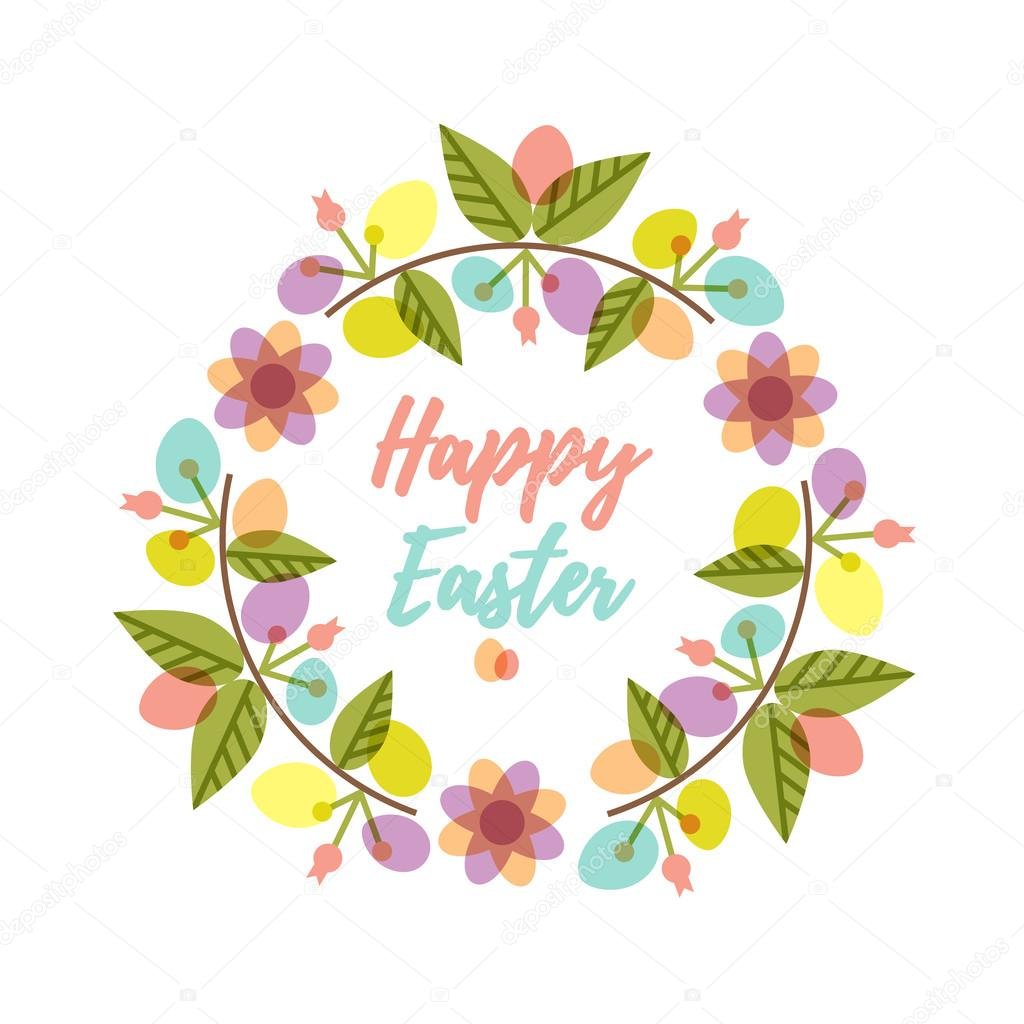 Easter wreath with colorful pattern eggs and flower branches.