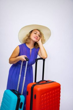 Beautiful girl suitcases journey rest happiness delight delight.