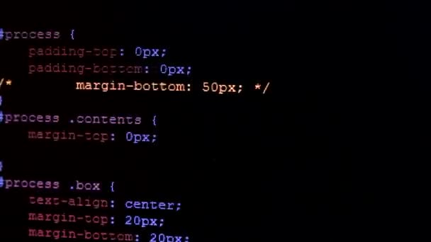 HTML CSS colorful code scrolling through black screen
