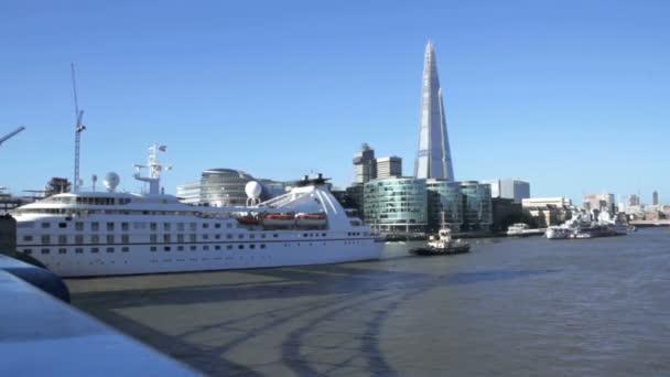Cruise Ship And Tower Bridge In London Stock Video - Cruise ship in london