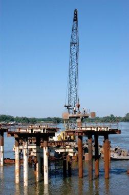 Bridge construction on a river Danube in Novi Sad, Serbia