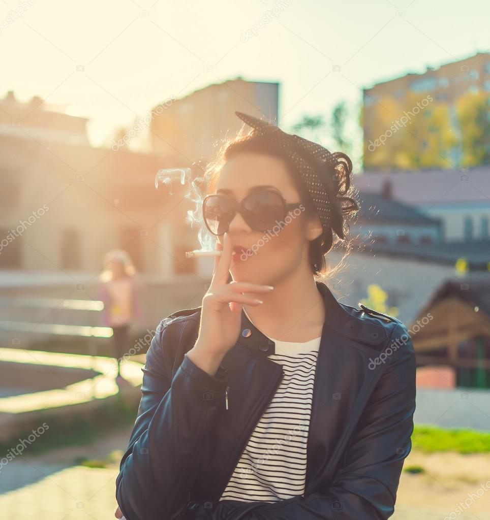 Stylish Swag Girl Smoke In The City Portrait Stock Photo