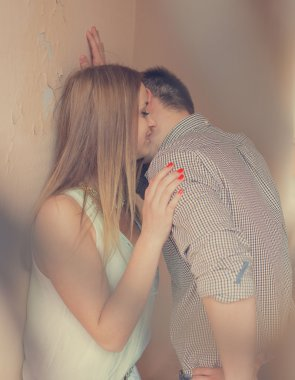 Romantic couple kiss outdoor