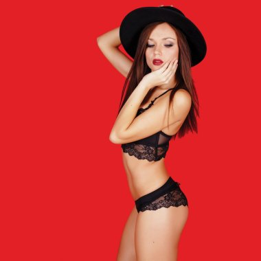 Shot of a sexy woman in black lingerie over red background