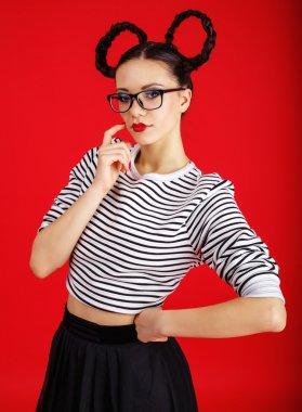 Fashion lady black red style. Beautiful girl with minnie mouse ears
