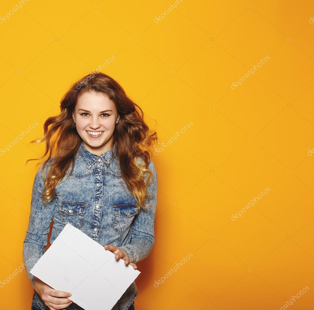 Modern business woman over yellow background with copy space. Hi