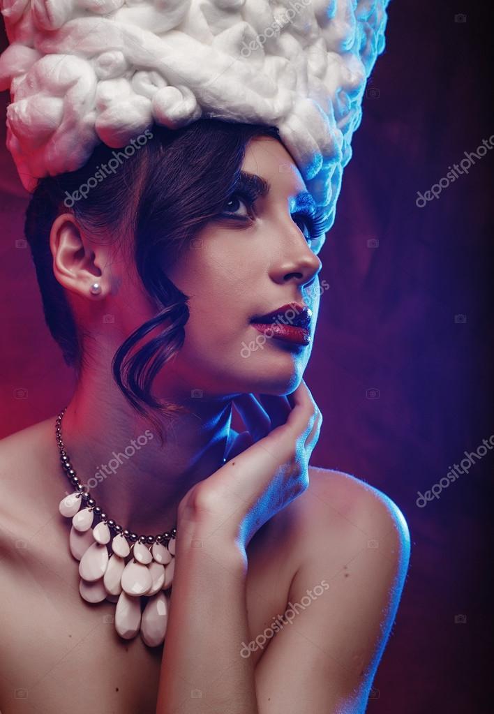 Alta moda look.glamor closeup retrato de beautifulstylish modelo de ...