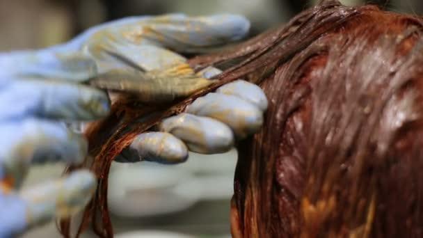 Ruce mistra obarvený pramen vlasů s kartáčem