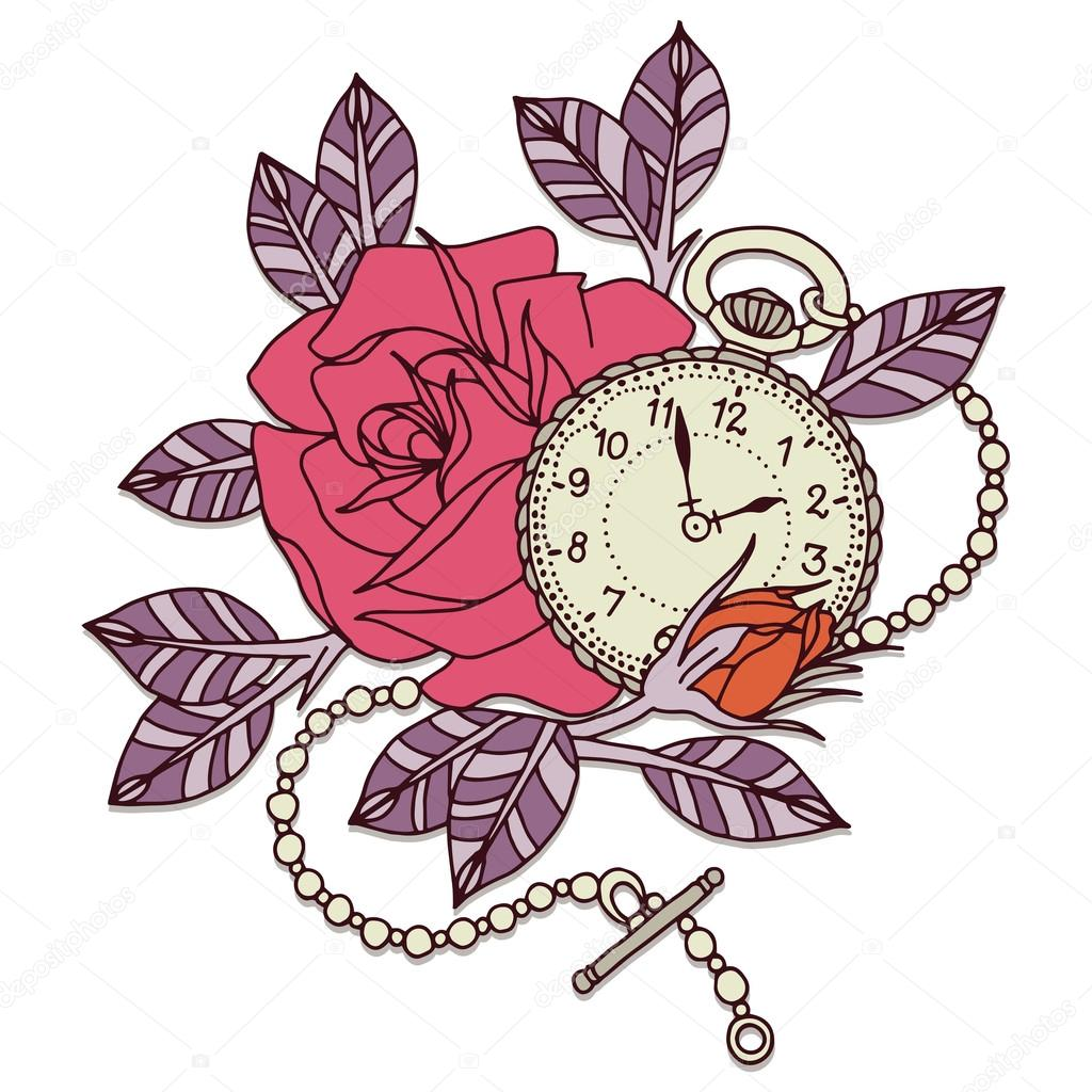 Diseno Tattoo Reloj Diseno De Tatuaje De Rosa Reloj Vector De