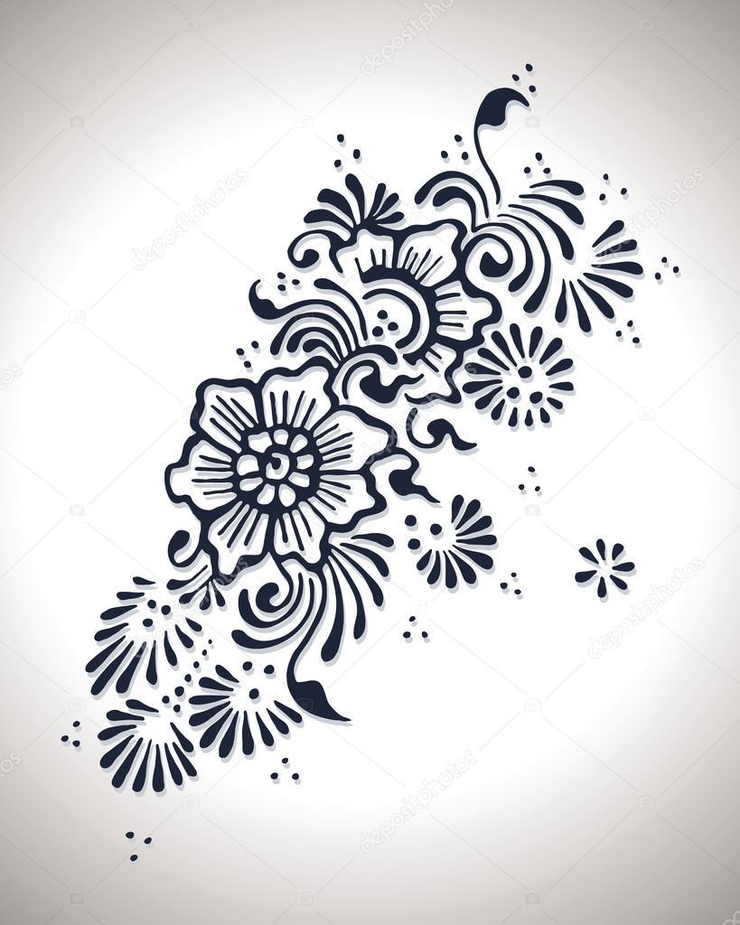 Flower Henna Design Graphic Illustration Stock Vector C Nak1 92337218