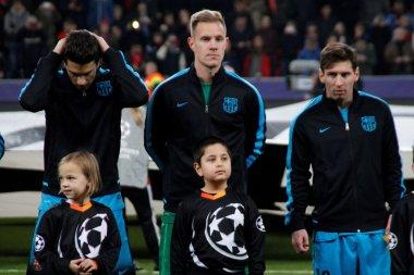 Marc Bartra , Marc-Andre ter Stegen  and Lionel Messi FC Barcelone