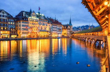 Lucerne, Switzerland, view of the old town from wooden Chapel bridge