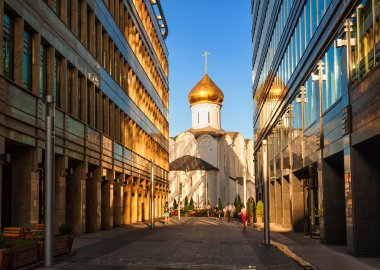Orthodox church and office buildings in Moscow, Russia