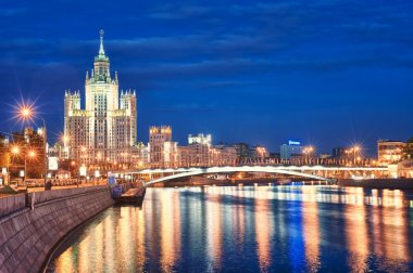 Moscow's historical skyscraper Kotelnicheskaya on Moskva river, Russia