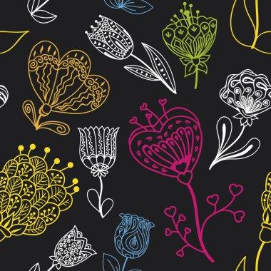 Flowers doodle seamless pattern. Vector illustration