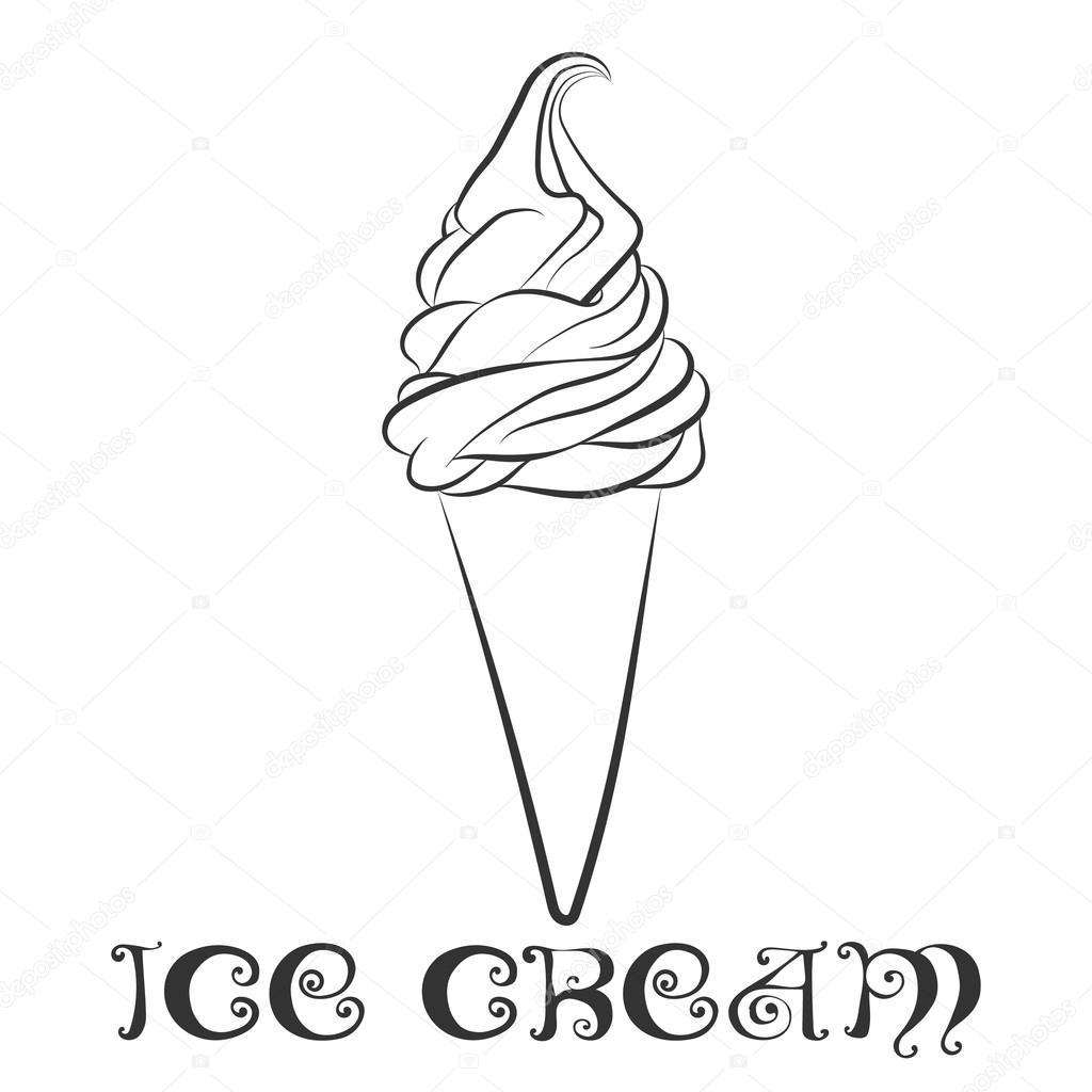 Plantilla de diseño de cono de helado de vainilla — Archivo Imágenes ...