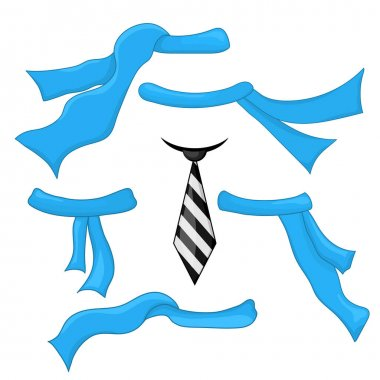 Set of ties and scarves on a white background for the construction and design. Cartoon style. Vector illustration icon