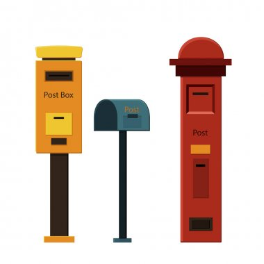 Set of mailboxes on a white background for construction and design. Cartoon style. Vector illustration icon