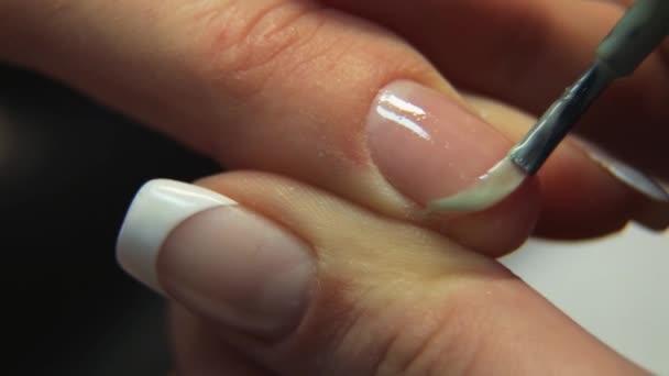 French manicure closeup