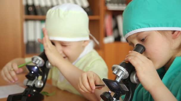 Kleine forscher mit einem mikroskop u stockvideo alexandrsemenov