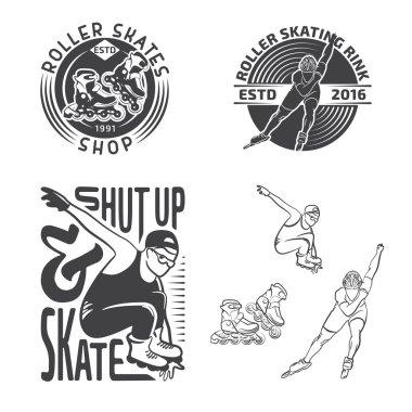 Set of rollerblading labels, badges and design elements.