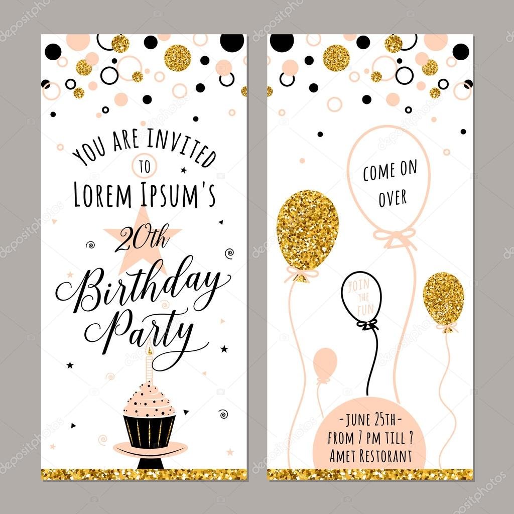 Vector Illustration Of Birthday Invitation Face And Back Sides - Golden gold birthday invitation background
