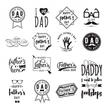 Happy fathers day wishes overlays, lettering labels design set. Retro father badges. Hand drawn emblems with tie, mustache, glasses, hand. Isolated sign or logo for photo greeting web, print.