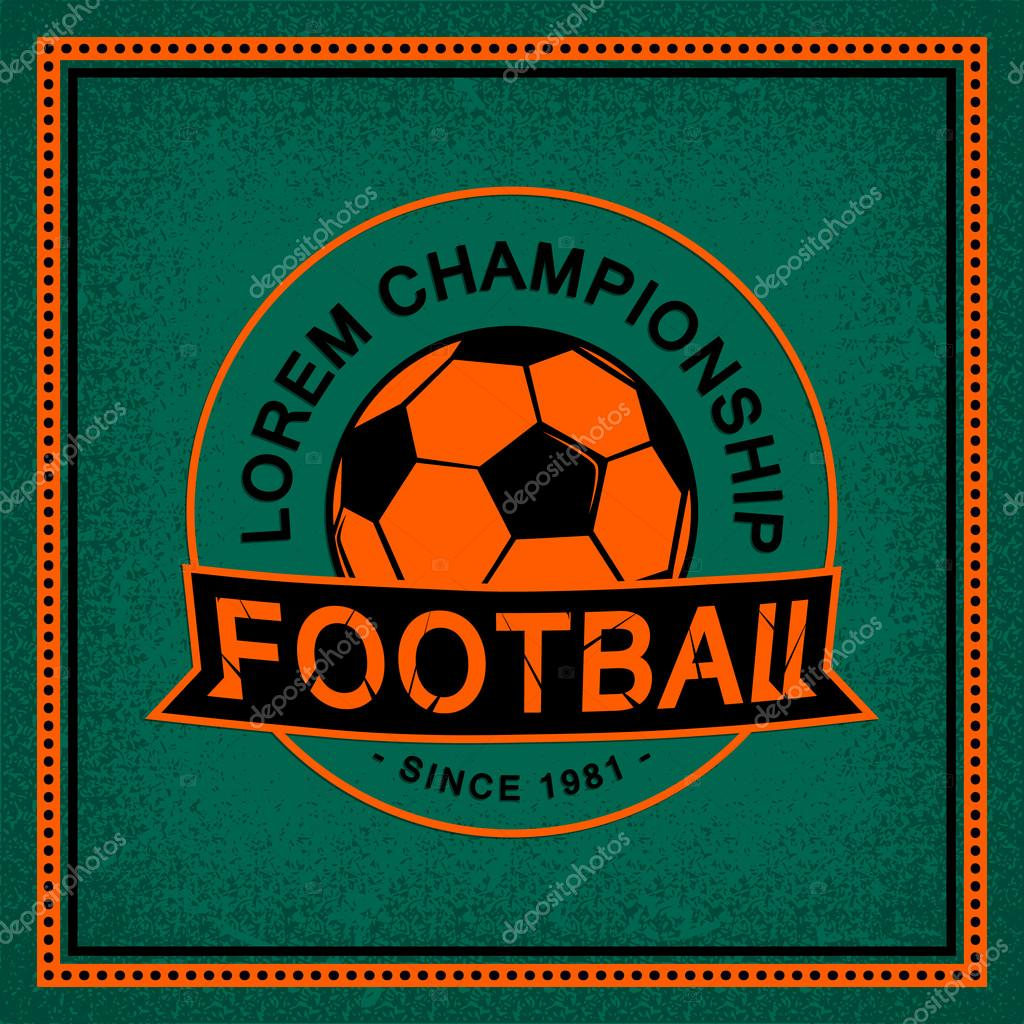 Color Vintage And Retro Logo Badge Label Football Game With Soccer Ball On Field Background