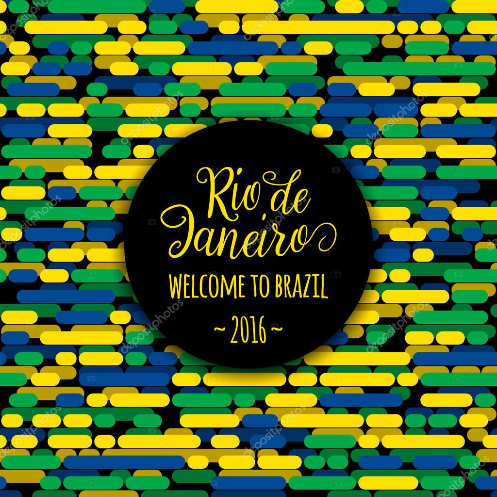 Color printing quotes - Lettering Motivation Quote Text Sign Rio De Janeiro Welcome To Brazil 2016 Template Felicitation Card Poster Banner On Seamless Creative Line Flag Color