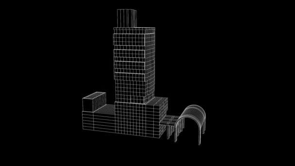 Budova v nice drátěný animaci