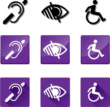Deaf, Blind, Disabled Icon Set