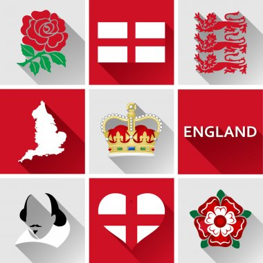 England Flat Icon Set