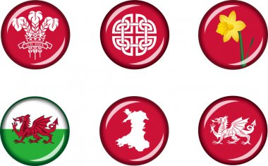 Wales Glossy Icon Set
