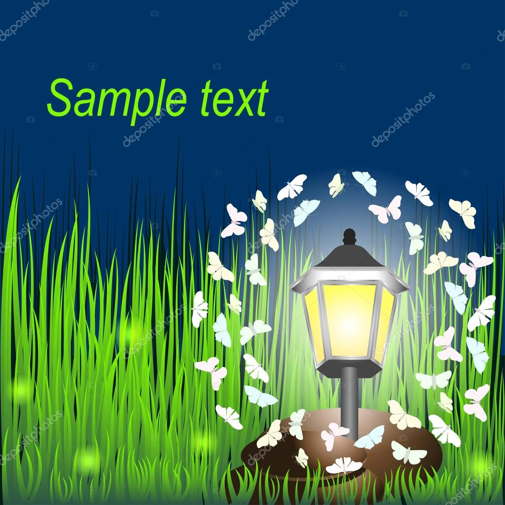 Lantern on grass with butterflies and  fireflies.