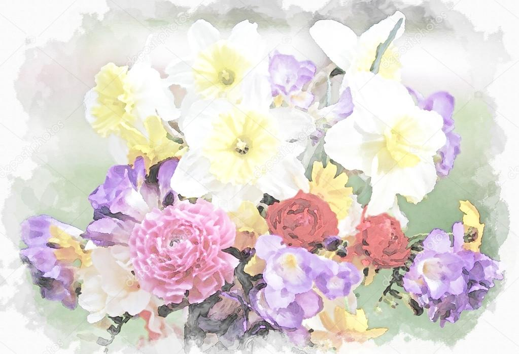Watercolor painting - a bouquet of flowers