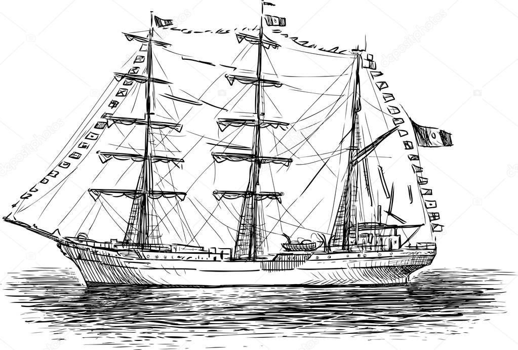 Segelschiffskizze — Stockvektor © samakarov@mail.ru #103573030