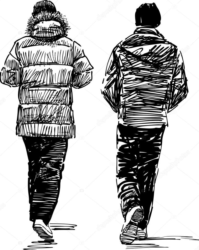 Skizze des lässig Fußgänger — Stockvektor © samakarov@mail.ru #103584848