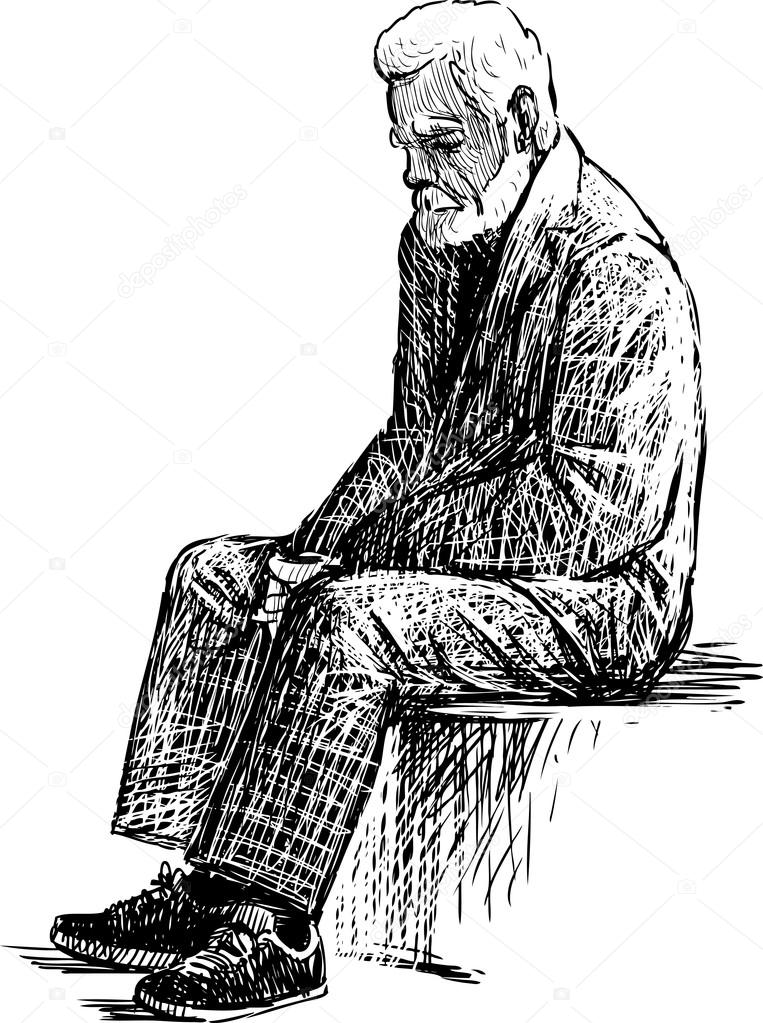 Cartoon Tired Old Man Tired Old Man Stock Vector