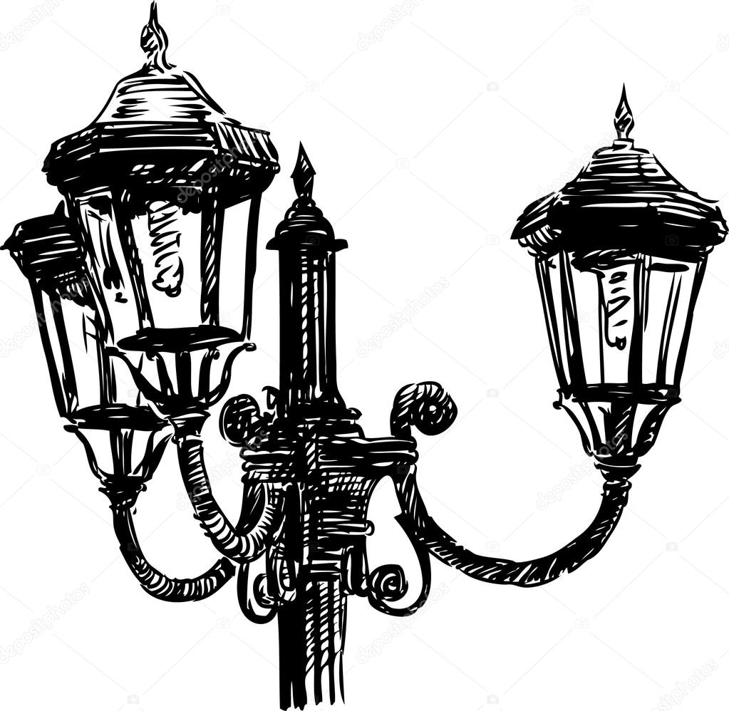 vintage street light — Stock Vector © samakarov@mail.ru #104484686 for Street Light Drawing  55jwn