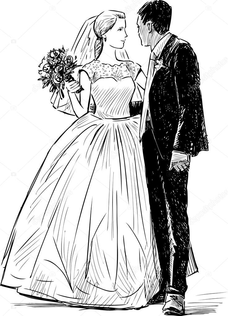 Line Drawing Wedding Couple : Panna młoda i pan młody — grafika wektorowa samakarov