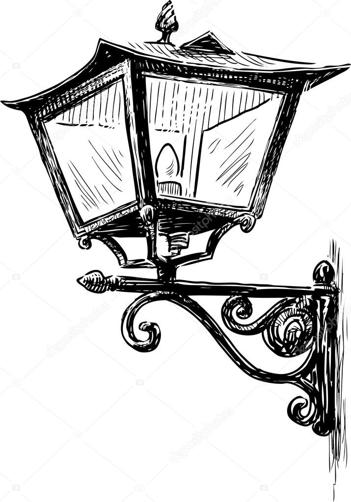 Sketch Of An Old Lantern Stock Vector