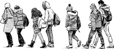 Vector image of the teens on a stroll. stock vector