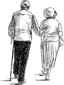 Fotografia coppia di anziani a passeggio